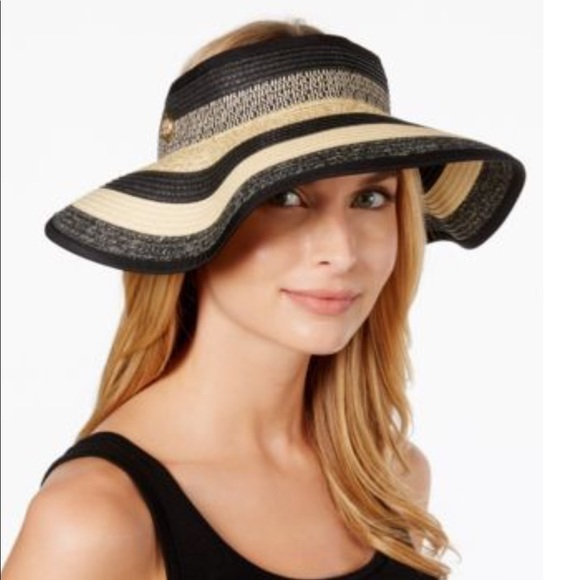 19aaa597698 Vince Camuto Ombre Striped Visor Hat Black NWT
